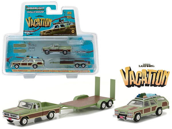 1972 Ford F100 Pickup with 1979 Wagon Queen Family Truckster with Flatbed Trailer which has Working Ramps 'National Lampoon\'s Vacation' Movie (1983) Hollywood Hitch and Tow Series 4 1/64 Diecast Model by Greenlight