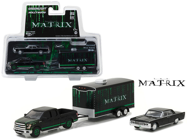 2015 Ford F-150 Pickup Black with 1965 Lincoln Continental Black with Enclosed Car Trailer which has Opening Rear Hatch 'The Matrix' Movie (1999) Hollywood Hitch and Tow Series 4 1/64 Diecast Model by Greenlight