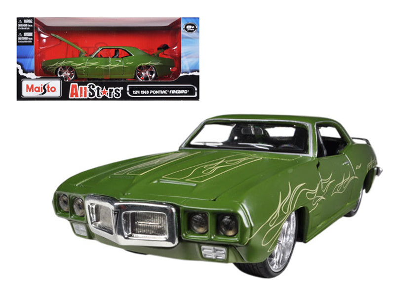 "1969 Pontiac Firebird Matt Green \All Stars"" 1/24 Diecast Model Car by Maisto"