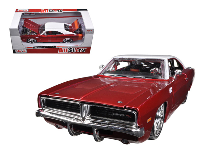 1969 Dodge Charger R/T Burgundy/White 1/25 Diecast Car Model by Maisto - BeTovi&co