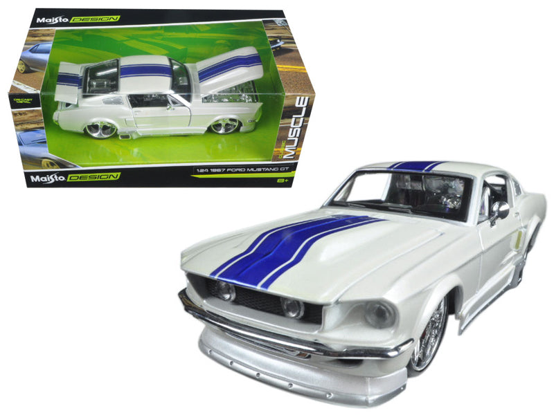 1967 Ford Mustang GT White with Blue Stripes 'Classic Muscle' 1/24 Diecast Model Car by Maisto - BeTovi&co