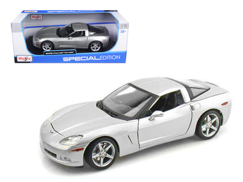 2005 Chevrolet Corvette C6 Coupe Silver 1/18 Diecast Model Car by Maisto - BeTovi&co