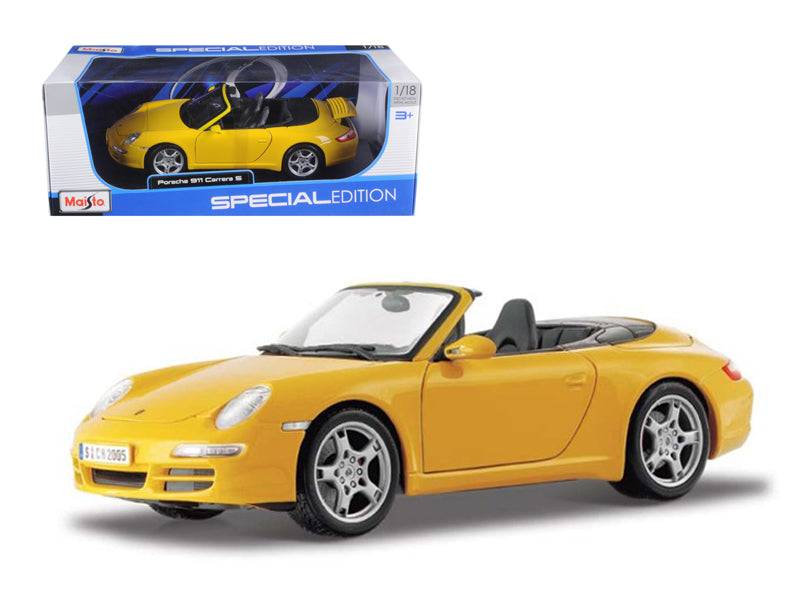 Porsche 911 997 Carrera S Cabrio Yellow 1/18 Diecast Model Car by Maisto - BeTovi&co