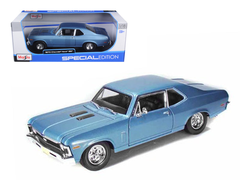 1970 Chevrolet Nova SS Coupe Blue 1/18 Diecast Model Car by Maisto - BeTovi&co
