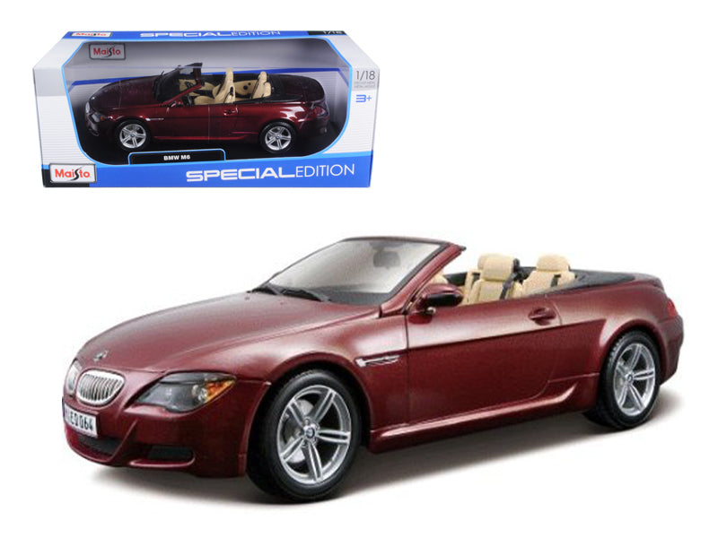 BMW M6 E64 Convertible Burgundy 1/18 Diecast Model Car by Maisto - BeTovi&co