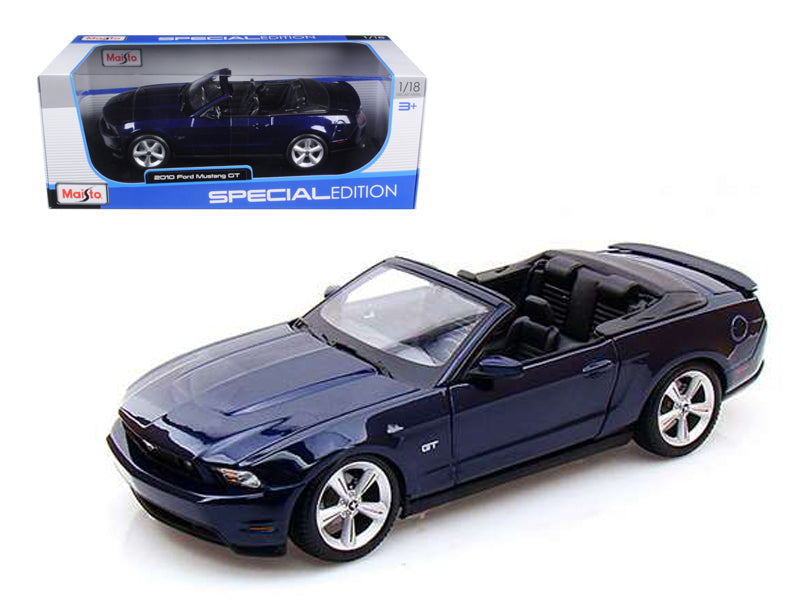 2010 Ford Mustang GT Convertible Dark Blue 1/18 Diecast Model Car by Maisto