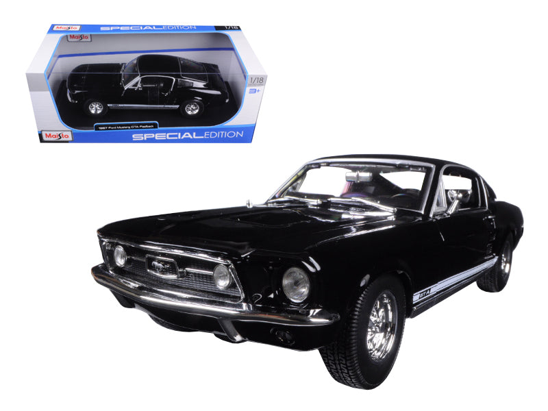 1967 Ford Mustang GTA Fastback Black 1/18 Diecast Model Car by Maisto - BeTovi&co