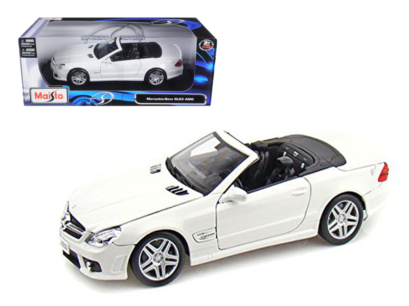 2011 Mercedes SL63 SL 63 AMG Convertible White 1/18 Diecast Model Car by Maisto