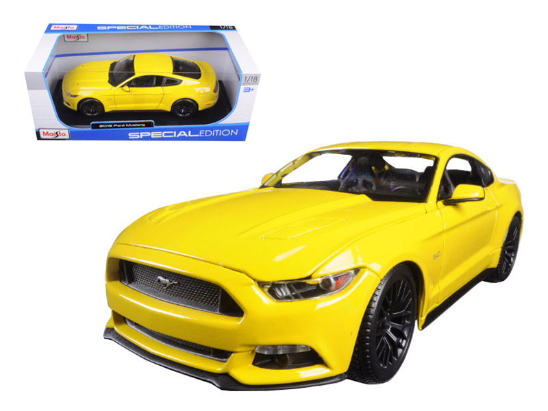 2015 Ford Mustang GT 5.0 Yellow 1/18 Diecast Model Car by Maisto - BeTovi&co
