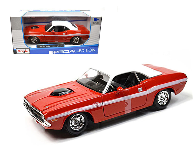 1970 Dodge Challenger R/T Coupe Red 1/24 Diecast Model Car by Maisto - BeTovi&co