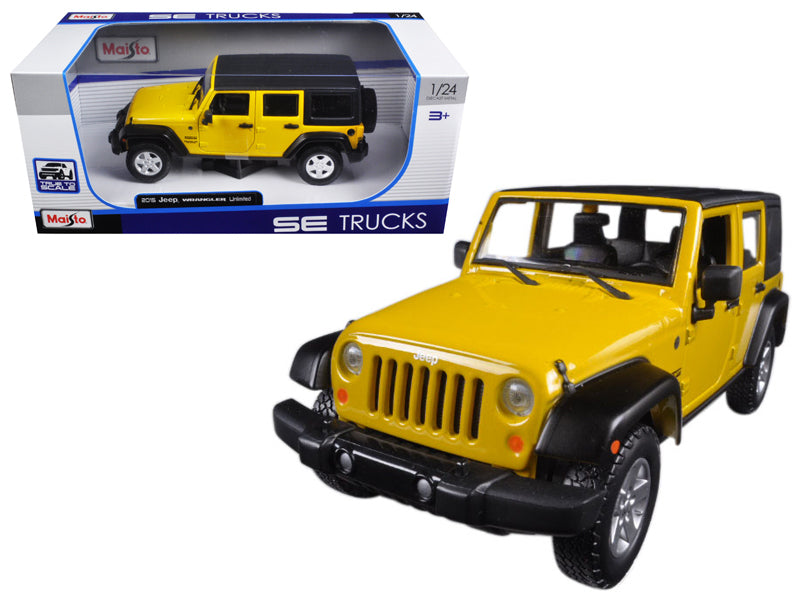 2015 Jeep Wrangler Unlimited Yellow 1/24 Diecast Model Car by Maisto - BeTovi&co
