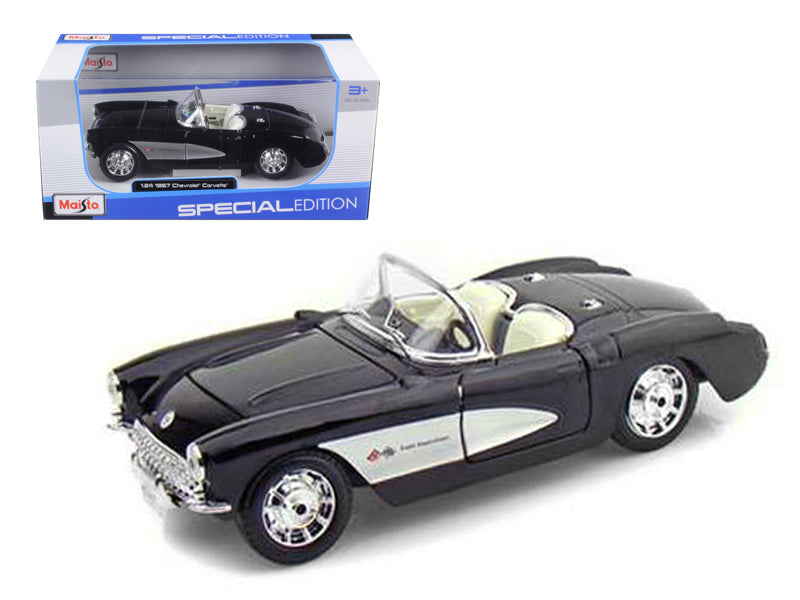 1957 Chevrolet Corvette Black 1/24 Diecast Model Car by Maisto - BeTovi&co