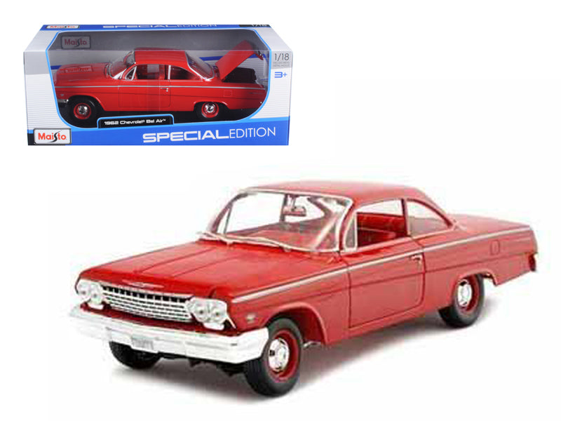 1962 Chevrolet Bel Air Red 1/18 Diecast Model Car by Maisto - BeTovi&co