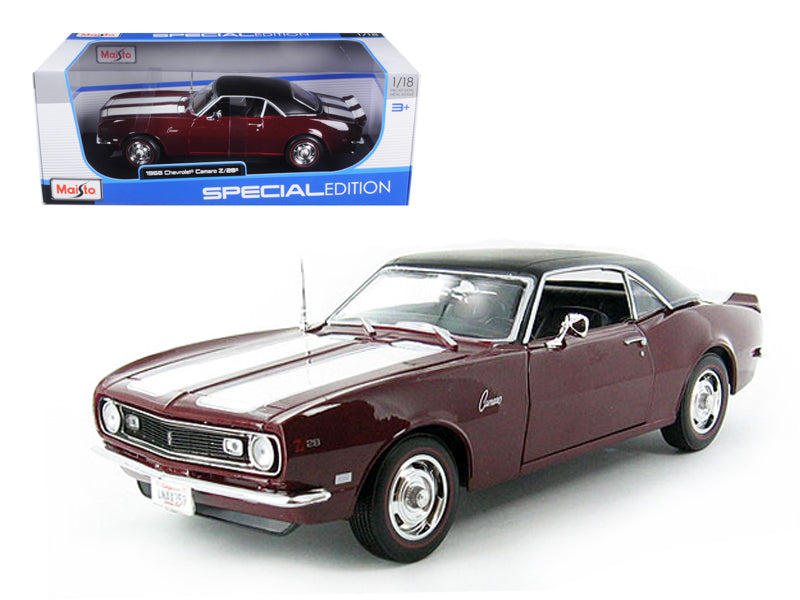 1968 Chevrolet Camaro Coupe Z/28 Maroon 1/18 Diecast Model Car by Maisto - BeTovi&co