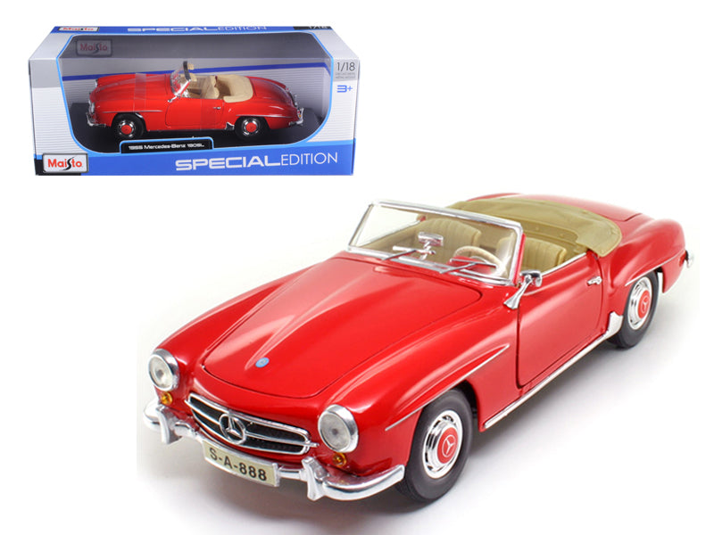1955 Mercedes 190 SL Red 1/18 Diecast Car Model by Maisto - BeTovi&co