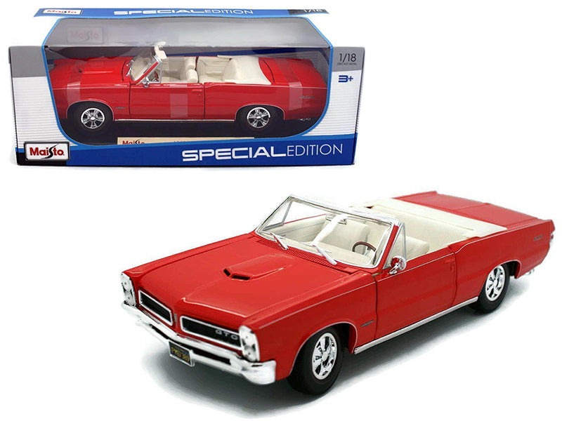 1965 Pontiac GTO Convertible Red 1/18 Diecast Model Car by Maisto - BeTovi&co