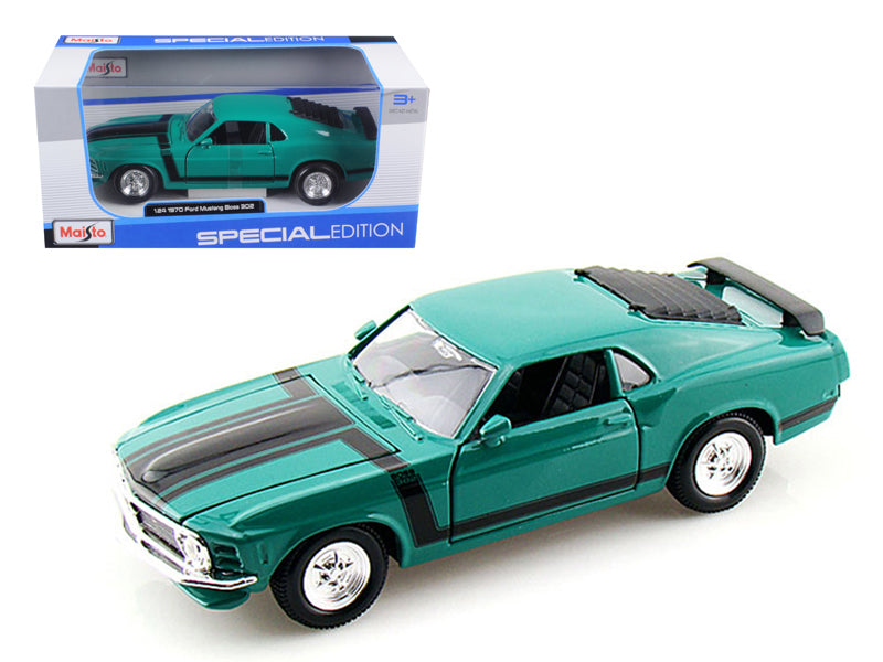 1970 Ford Mustang Boss 302 Green 1/24 Diecast Model Car by Maisto - BeTovi&co