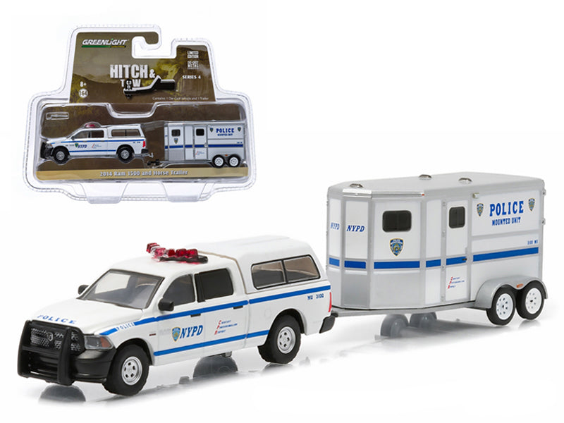 2014 Dodge Ram 1500 NYPD Pickup Truck and NYPD Horse Trailer Hitch & Tow Series 4 1/64 Diecast Model by Greenlight - BeTovi&co