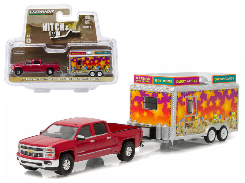 2015 Chevrolet Silverado & State Fair Concession Trailer Hitch & Tow Series 7 1/64 Diecast Car Model by Greenlight - BeTovi&co