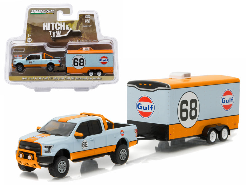 2015 Ford F-150 Pickup Truck #68 'Gulf Oil' and Enclosed Car Hauler Hitch & Tow Series 7 1/64 Diecast Car Model by Greenlight - BeTovi&co