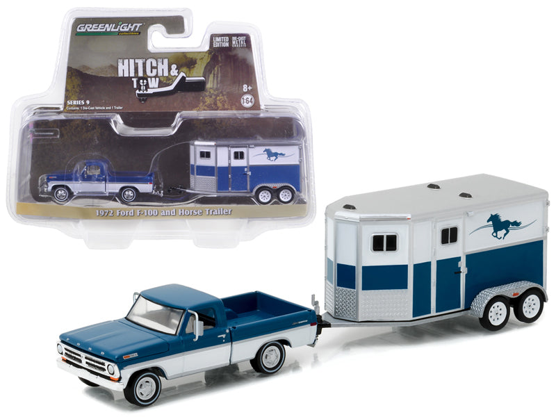 1972 Ford F-100 and Horse Trailer Hitch & Tow Series 9 1/64 Diecast Model Car  by Greenlight - BeTovi&co