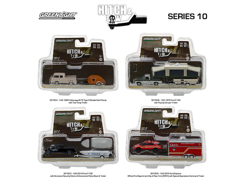 Hitch & Tow Series 10 Set of 4 1/64 Diecast Model Cars by Greenlight - BeTovi&co