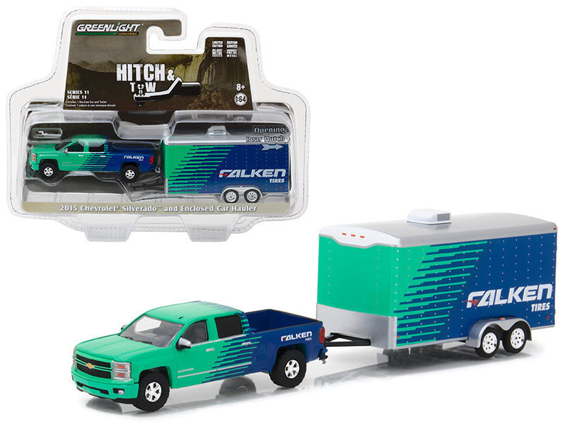 2015 Chevrolet Silverado Pickup Truck Falken Tires and Enclosed Car Hauler Hitch & Tow Series 11 1/64 Diecast Car Model by Greenlight - BeTovi&co