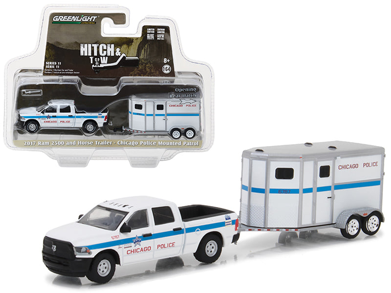 2017 Dodge Ram 2500 and Horse Trailer Chicago Police Mounted Patrol Hitch & Tow Series 11 1/64 Diecast Car Model by Greenlight - BeTovi&co