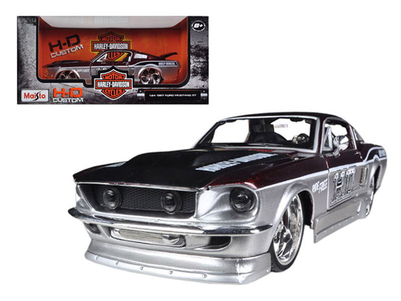 1967 Ford Mustang GT Red /Silver Harley Davidson 1/24 Diecast Model Car by Maisto - BeTovi&co