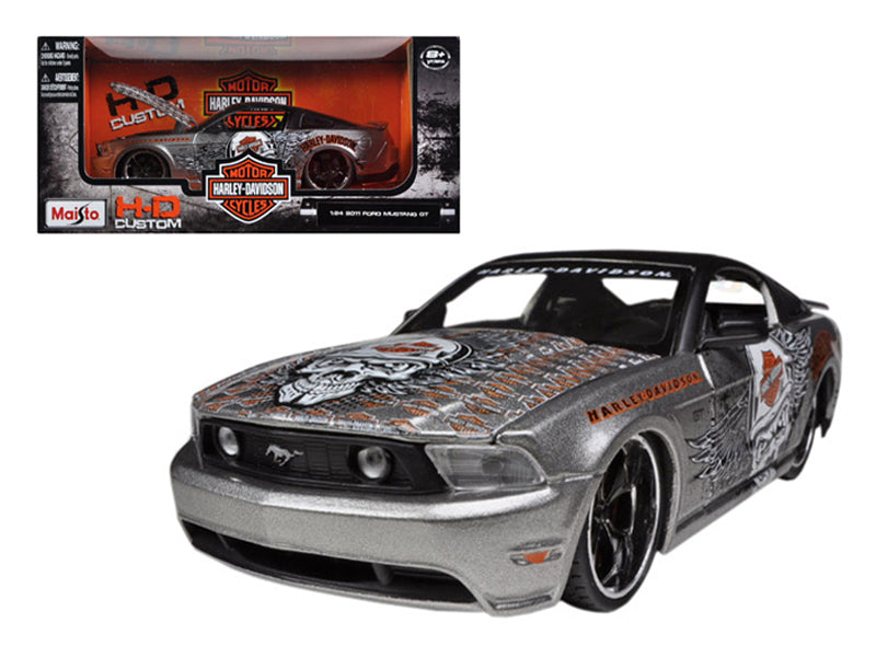 2011 Ford Mustang GT Grey Harley Davidson 1/24 Diecast Model Car by Maisto - BeTovi&co