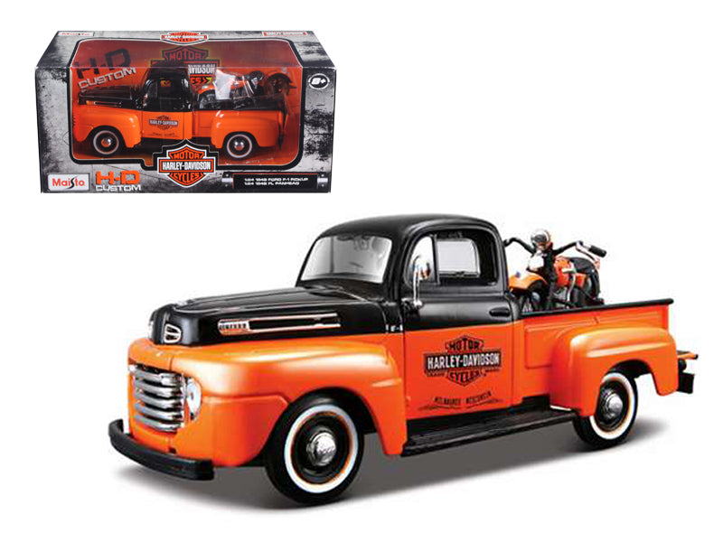 1948 Ford F-1 Pickup Truck Harley Davidson With 1948 FL Panhead Motorcycle Orange/Black 1/24 by Maisto - BeTovi&co