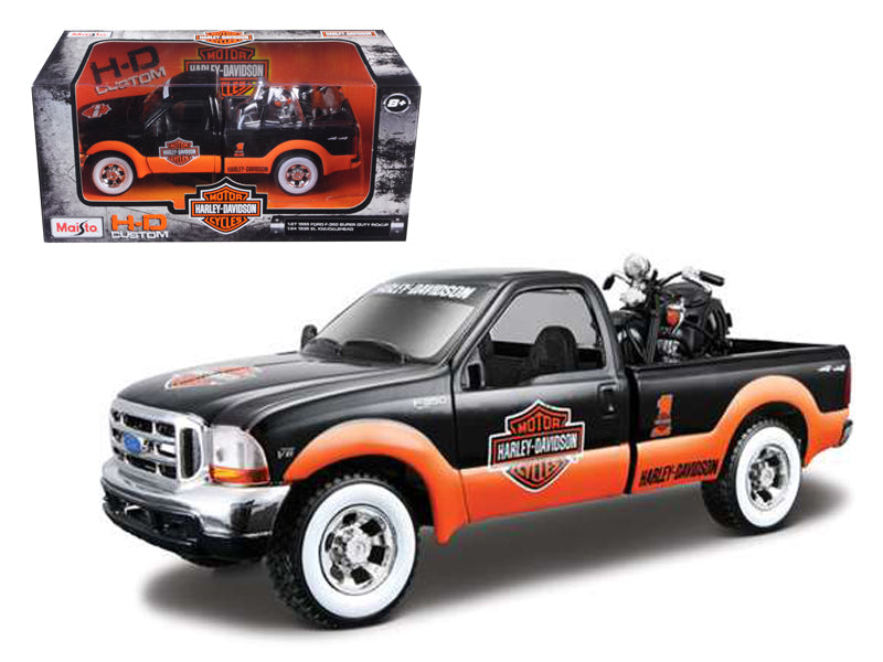1999 Ford F-350 Pickup Truck With Harley Davidson 1936 El Knucklehead Motorcycle 1/24 Orange/Black & White Wheels by Maisto - BeTovi&co