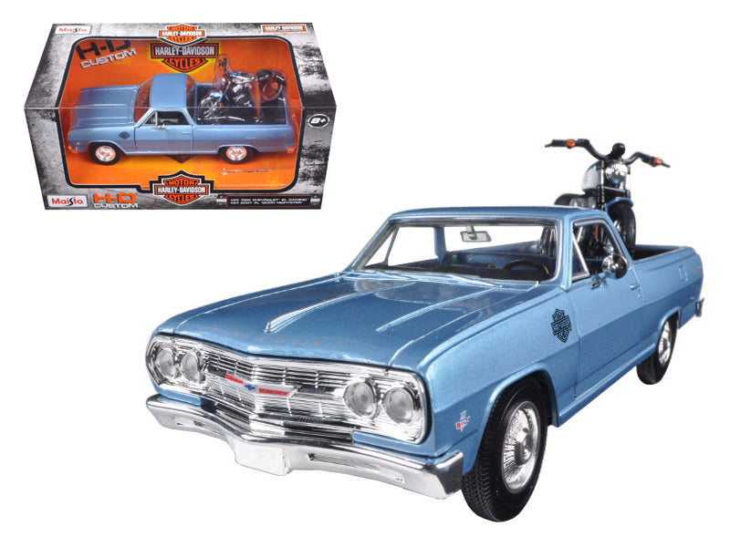 1965 Chevrolet El Camino 1/25 With 2007 Harley Davidson XL 1200N Nightster Motorcycle 1/24 by Maisto - BeTovi&co