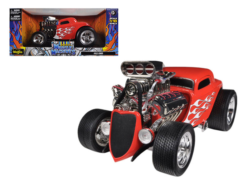 "1933 Ford Three 3 Window Coupe Red \Muscle Machines"" 1/18 Diecast Car Model by Maisto"" - BeTovi&co"