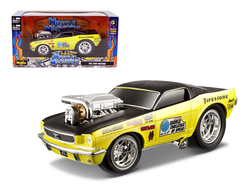 "1966 Ford Mustang Yellow Gasser \Muscle Machines"" 1/24 Diecast Model Car by Maisto"" - BeTovi&co"