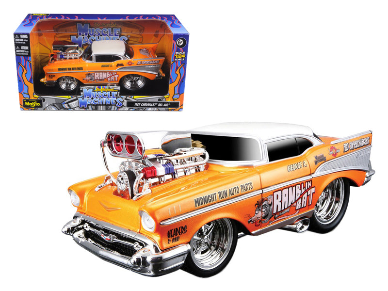 "1957 Chevrolet Bel Air \Muscle Machines"" Orange 1/24 Diecast Model Car by Maisto"" - BeTovi&co"