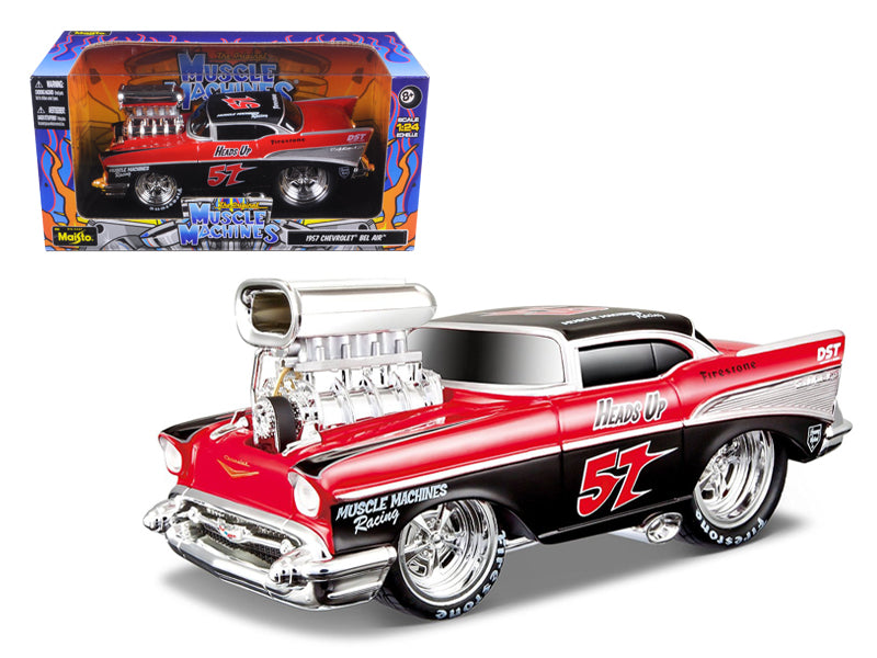 "1957 Chevrolet Bel Air \Muscle Machines"" Red/Black 1/24 Diecast Model Car by Maisto"" - BeTovi&co"