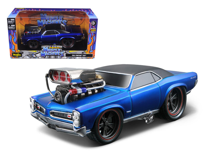 "1966 1967 Pontiac GTO Blue \Muscle Machines"" 1/24 Diecast Model Car by Maisto"" - BeTovi&co"
