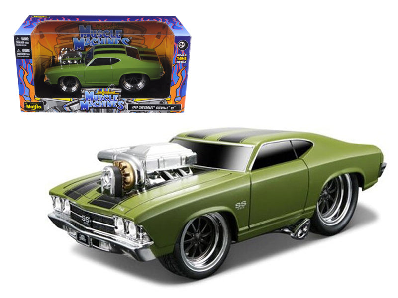 "1969 Chevrolet Chevelle SS Green \Muscle Machines"" 1/24 Diecast Model Car by Maisto"" - BeTovi&co"