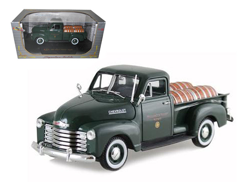 "1950 Chevrolet Pickup Truck Green With Barrels \Willamette Valley Winery 1/32 Diecast Model Car by Signature Models"" - BeTovi&co"