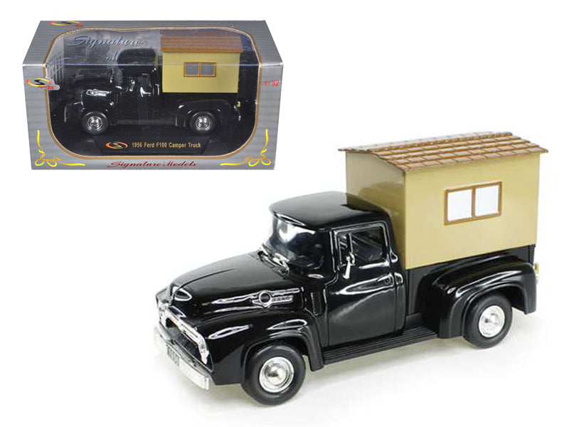 1956 Ford F-100 Pickup Truck Black with Camper 1/32 Diecast Model Car by Signature Models - BeTovi&co