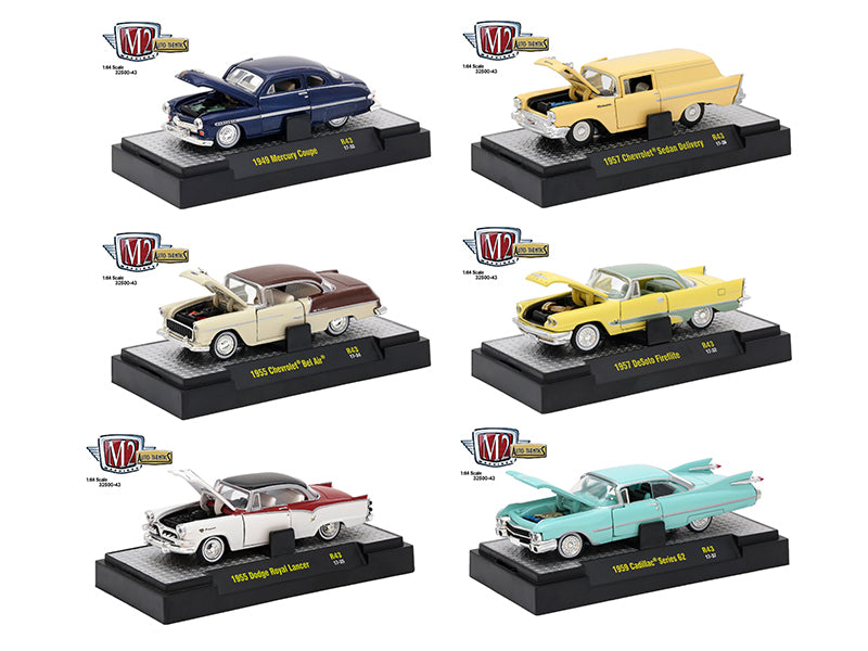 Auto Thentics 6 Piece Set Release 43 IN DISPLAY CASES 1/64 Diecast Model Cars by M2 Machines - BeTovi&co