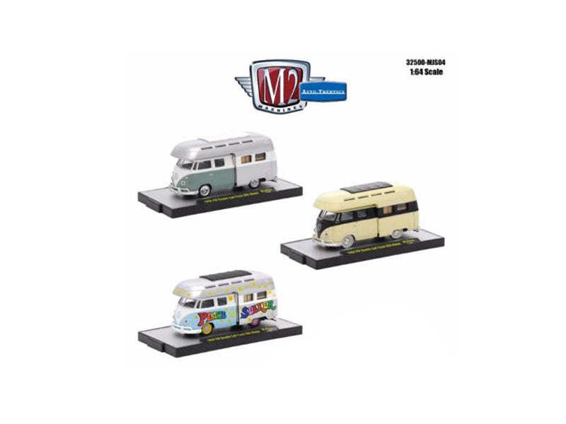 Auto Thentics 3 Cars Set 1959 Volkswagen Double Cab with Campers USA Models  IN DISPLAY CASES 1/64 Diecast Model Cars by M2 Machines - BeTovi&co