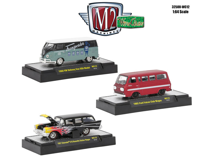 Wild Cards Set of 3 WITH CASES Release WC12 1/64 Diecast Model Cars by M2 Machines - BeTovi&co