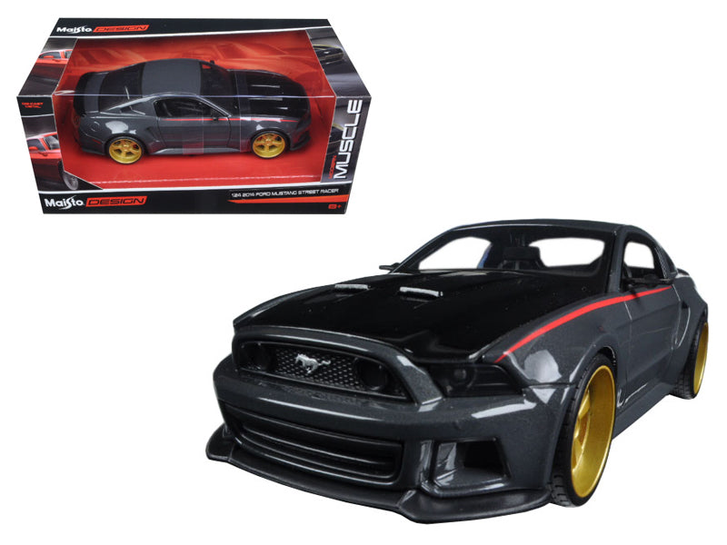Ford Mustang Street Racer Grey and Black 'Modern Muscle' 1/24 Diecast Model Car by Maisto - BeTovi&co
