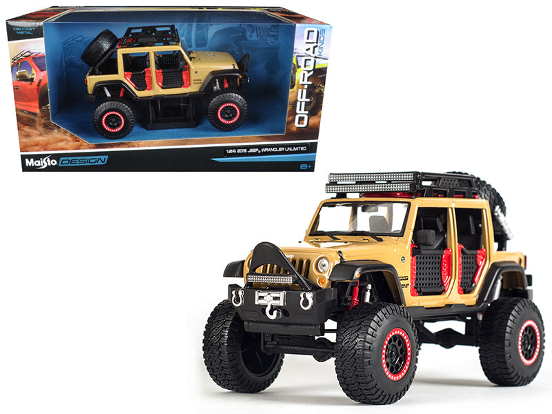 2015 Jeep Wrangler Unlimited Brown Off Road Kings 1/24 Diecast Model Car by Maisto - BeTovi&co