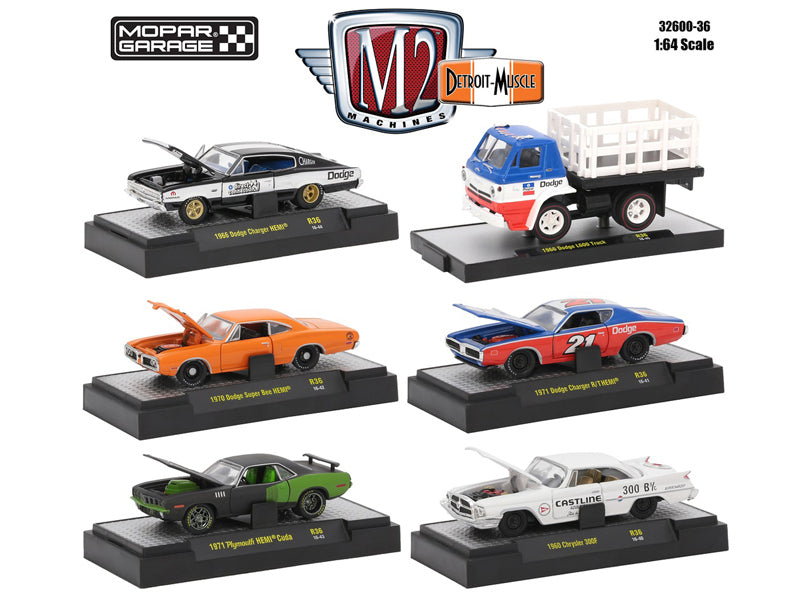 Detroit Muscle 6 Cars Set Release 36 'Mopar Garage' Collection IN DISPLAY CASES 1/64 Diecast Model Cars by M2 Machines - BeTovi&co