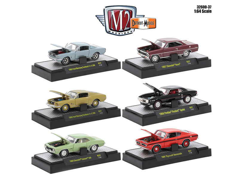 Detroit Muscle 6 Cars Set Release 37 IN DISPLAY CASES 1/64 Diecast Model Cars by M2 Machines - BeTovi&co