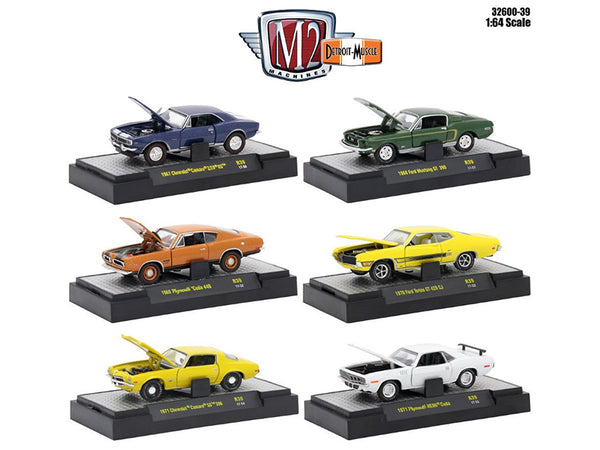 Detroit Muscle 6 Cars Set Release 39 IN DISPLAY CASES 1/64 Diecast Model Cars by M2 Machines