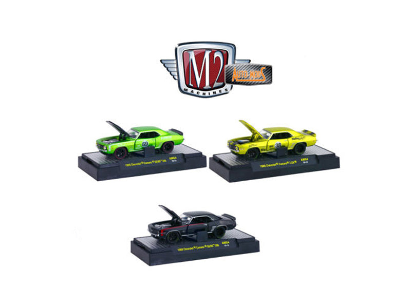 Auto Mods 1969 Chevrolet Camaro SS RS 396 and 1969 Chevrolet Camaro Z/28, 3 Cars Set WITH CASES 1/64 Diecast Model Cars by M2 Machines - BeTovi&co